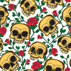 Day of the dead seamless pattern of skulls and flowers in Mexican style. Vector illustration of three skulls and brunch of roses on background.