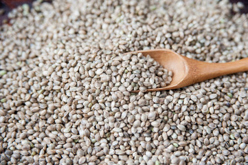 Hemp seeds on table and wooden spoon