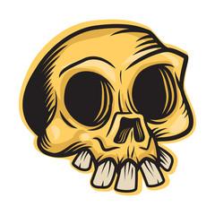 Skull mascot. Vector illustration of skull in Mexican style.