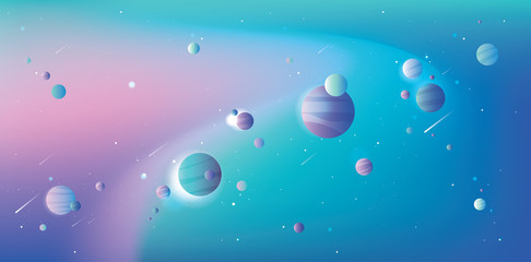 Abstract vibrant universe with blue and pink planets