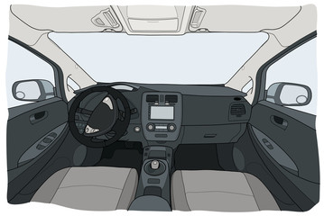 Interior view of electrocar with automatic gearbox