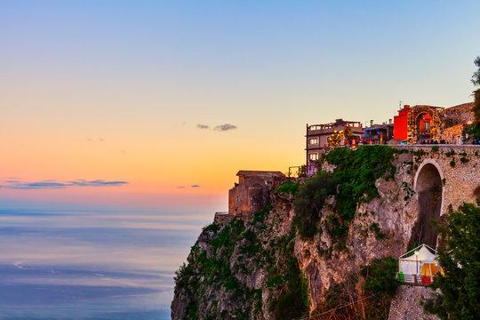 Castelmola town on rocky mountain top