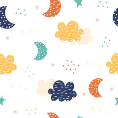Cute seamless pattern with night sky. Kids bedtime print. Vector hand drawn illustration.