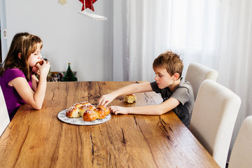 King Cake or King Bread, called in German language Dreikönigskuchen, baked in Switzerland on January 6th, to celebrate the festival of Epiphany at the end of the Christmas season.