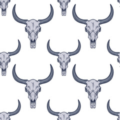 Vector seamless pattern with bull skulls illustrations in engraving technique.