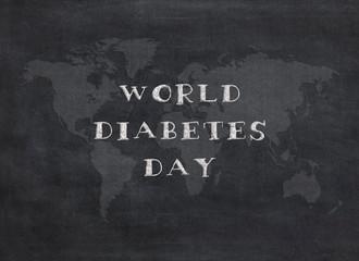 WORLD DIABETES DAY - handwriting on a chalkboard