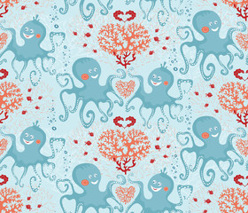 Vector seamless pattern of sea life, cute octopuses and corals on the teal background