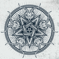Stylish pentagram with goat skulls and star rays. Vector hand crafted illustration on grunge background. Good for posters, stickers, t-shirt prints, banners.