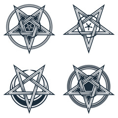 Set of stylish pentagrams with moon symbol. Vector illustration of satanic, occult symbols, isolated on white.