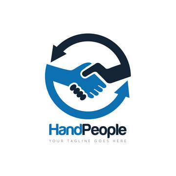 people deal handshake logo and icon vector design template