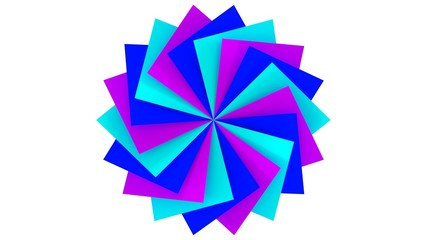 blue color squares with circle formation in 3d efect like beautiful flower