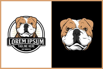 amazing dog cartoon character england pitbull vector logo template with around shape badge