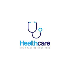 medical health care with stethoscope logo and icon vector design template