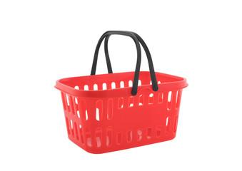 Red shopping basket isolated on white background