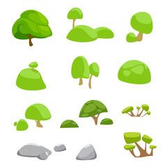 vector set flat cute trees nature cartoon