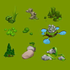 vector set of cute landscape Park and trees, green, plants, stones