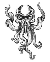 Evil skull-octopus mascot in engraving technique. Vector illustration isolated on white.
