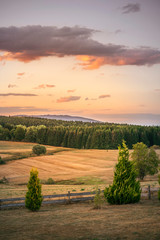 Rural countryside landscape in the sunset