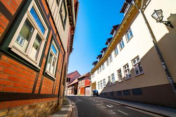 Old buildings on a village street in Harz