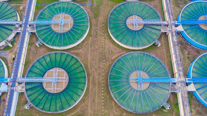 Aerial top view water treatment plant, Aerial top view recirculation solid contact clarifier sedimentation tank.