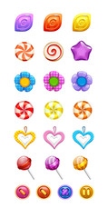 vector set of sweets set of multi-colored different shapes in the form of buttons