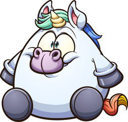 Fat cartoon unicorn sitting down. Vector clip art illustration with simple gradients. All in a single layer.