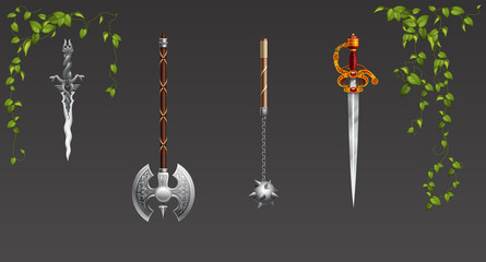 Set of fantasy battle axes weapon for game. Vector illustration. weapon sharp scars ancient knights metal saber rapier razor