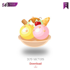 Different tasty ice cream and dessert vector icons for 2019 year