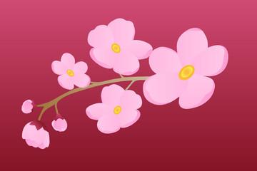 Flowering branch on burgundy background