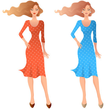Flat art fashion woman. Vector illustration of female model wearing casual midi dress, and holding purse bag in one hand. Isolated on white background.