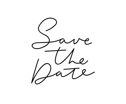 Save the date lettering inscription isolated on white background for wedding, engagement party etc. Modern vector card with lettering