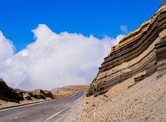 Foto op Canvas Zuid-Amerika land Panoramic winding road crossing Chimborazo national park, Ecuador