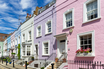 Colourful terraced town houses, London, UK