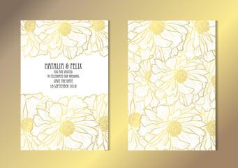 golden floral cards set