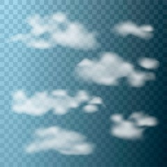 Set of realistic clouds on transparent background. Vector illustration.