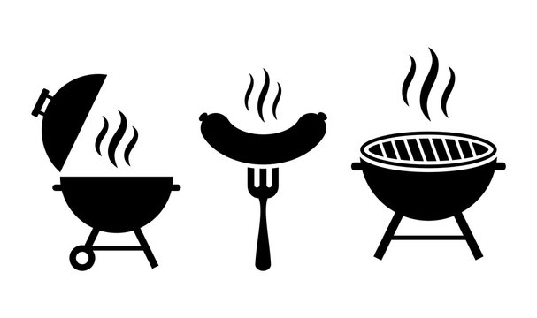Grill bbq vector icon set