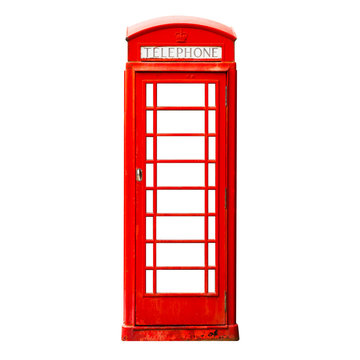London red phone box isolated on white