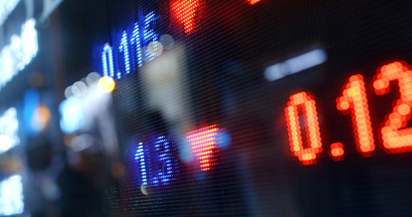 Stock market display on the screen
