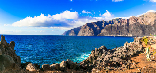 Amazing nature of Tenerife - impressive rocks of Los Gigantes. Canary islands