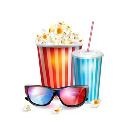 Realistic vector illustration of 3d glasses with popcorn.