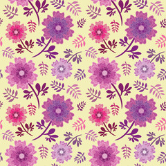 Elegant pink and purple flowers and leaves seamless vector repeat pattern on soft yellow background. Great for fabrics, home decor, scrapbooking, stationery, wallpaper