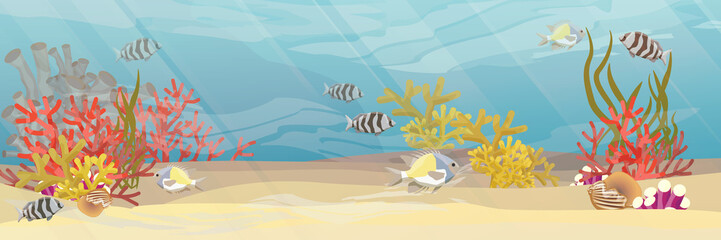 Tropical underwater landscape. The bottom of the coral reef with exotic fish, corals, sea sponges, sand and stones. Vector illustration of a sea life