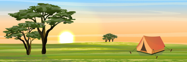 Tent for rest and tourism in the African savannah. Realistic vector landscape. The nature of Africa. Reserves and national parks. Camping and tourism.