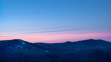Red north sky after sunset. Seen from Snøhetta, Dovre, Norway.