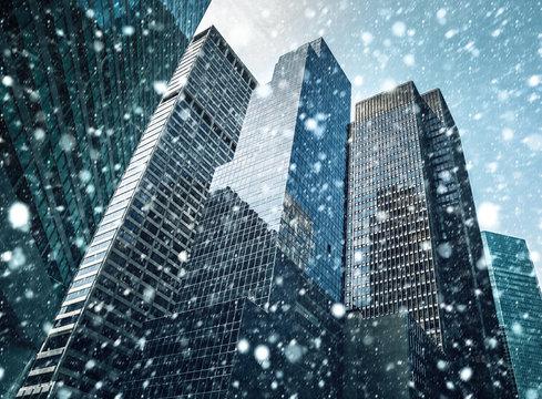 Winter Manhattan in the snowfall
