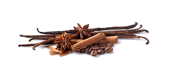 Vanilla, cinnamon, anise and coffee on white background. Spices isolated.