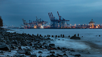 evening in Hamburg, Elbe, river in Germany