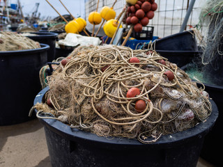Fishing nets along the port quay