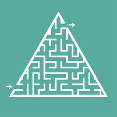 Abstract triangular labyrinth. Game for kids. Puzzle for children. One entrance, one exit. Labyrinth conundrum. Flat vector illustration isolated on color background.