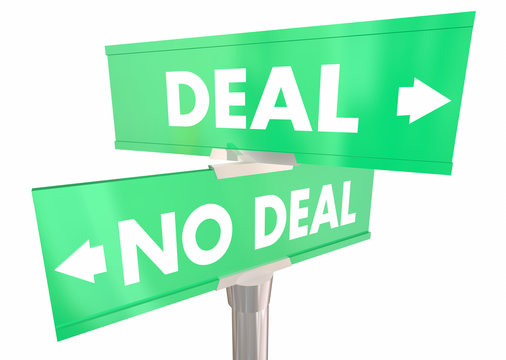 Deal or No Deal Reach Agreement Contract Two 2 Way Street Signs 3d Illustration